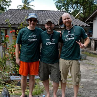 Three older volunteers enjoying themselves on their gap year in Thailand